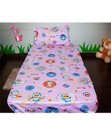 Doraemon Single Bedsheet - Pink