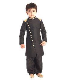 Kidology Ikat Ayushman Sherwani Set - Black
