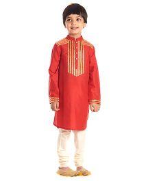Kidology Kinari Lapel Kurta & Pajama Set - Red & Gold