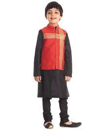 Kidology Jacket  With Kurta Pajama Set - Black & Red