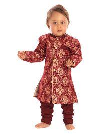 Kidology Brocade Sherwani & Pajama Set - Maroon
