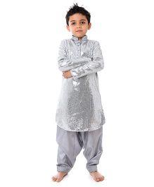Kidology Sequins Kurta  & Pajama - Silver