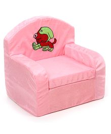 Luvely Kids Sofa Chair Puppy Embroidery - Light Pink