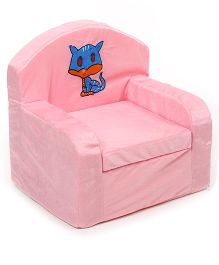 Luvely Kids Sofa Chair Cat Embroidery - Light Pink