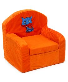 Luvely Kids Sofa Chair Cat Embroidery - Orange