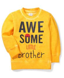 Babyhug Full Sleeves Awesome Little Brother Printed T-Shirt - Dark Yellow