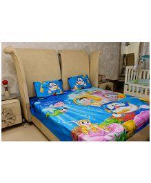 Doraemon Cotton Double Bed Bedsheet Reactive Panal Print - Blue
