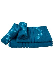 Sassoon Sandy Designer Towel Gift Set Teal Blue - 4 Pieces