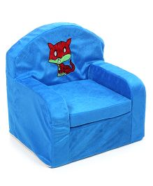 Luvely Kids Sofa Chair Cat Embroidery - Blue