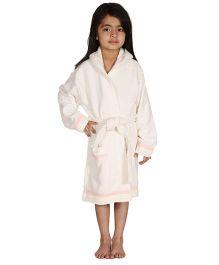 Mumma's Touch Organic Cotton & Bamboo Kids Hooded Bathrobe – Off White
