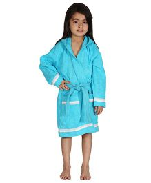 Mumma's Touch Organic Cotton & Bamboo Kids Hooded Bathrobe – Aqua