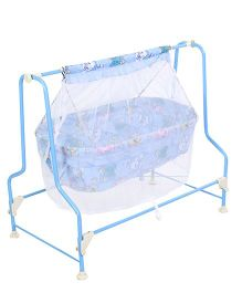 Infanto Cocoon Baby Cradle With Mosquito Net Animals Print - Blue