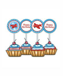 Prettyurparty Airlines Cupcake Toppers- Blue