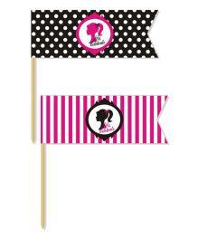 Prettyurparty Barbie Toothpicks- Pink and Black