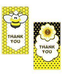 Prettyurparty Bumble Bee Thankyou Cards- Black and Yellow