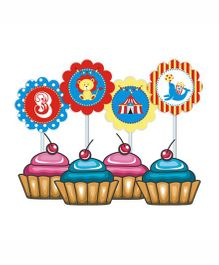 Prettyurparty Carnival Cupcake Food Toppers- Multi color