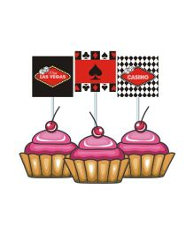 Prettyurparty Casino Cupcake Food Toppers- Black and Red