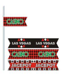 Prettyurparty Casino Drink Straws- Black and Red