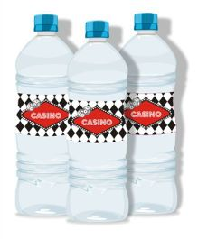 Prettyurparty Casino Water Bottle Labels- Black and Red