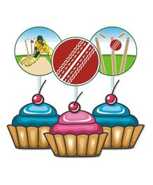 Prettyurparty Cricket Cupcake Food Toppers Multicolor - Pack of 10
