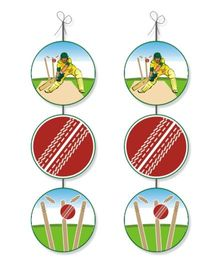 Prettyurparty Cricket Theme Danglers - Multicolor