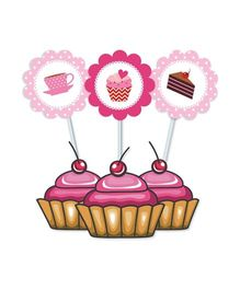 Prettyurparty Cupcake Food Toppers Pink - Pack of 10