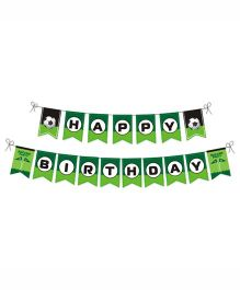 Prettyurparty Football Bunting- Green and Black