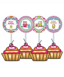 Prettyurparty Girly Owl Cupcake Food Toppers- Pink