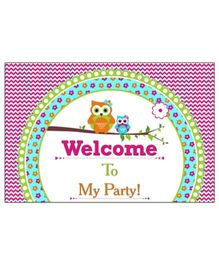 Prettyurparty Girly Owl Entrance Banner Door Sign- Pink