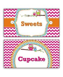 Prettyurparty Girly Owl Food Labels- Pink