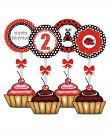 Prettyurparty Lady Bug Cupcake Food Toppers- Black and Red