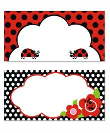 Prettyurparty Lady Bug Food Labels- Black and Red
