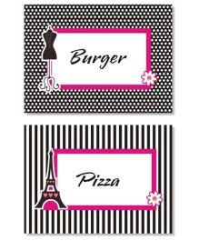 Prettyurparty Paris Food Labels- Black and Pink