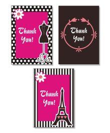 Prettyurparty Paris Thankyou Cards- Black and Pink