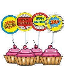 Prettyurparty Spa Cupcake Food Toppers- Multi color