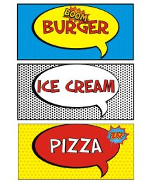 Prettyurparty Superhero Food Labels- Multi Color