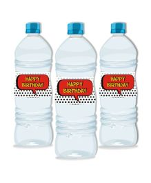 Prettyurparty Superhero Water Bottle Labels- Red