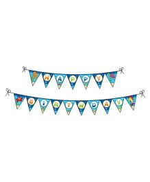 Prettyurparty Under the Sea Birthday Bunting- Blue