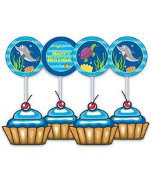 Prettyurparty Under the Sea Cupcake Toppers- Blue