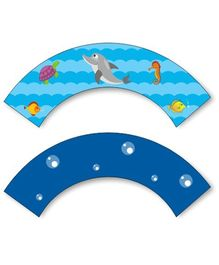 Prettyurparty Under the Sea Cupcake Wrappers- Blue