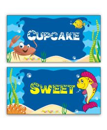 Prettyurparty Under the Sea Food Labels- Blue