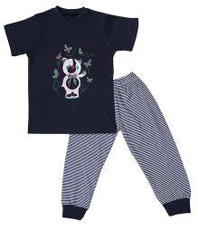 Earth Conscious Organic Cotton T-Shirt And Leggings Bear Print - Navy Blue