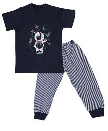 Earth Conscious Organic Cotton T-Shirt And Leggings Bear Print - Navy Blue