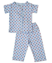 Earth Conscious Short Sleeves Organic Cotton Night Suit - Sky Blue