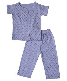 Earth Conscious Short Sleeves Organic Cotton Night Suit - Purple