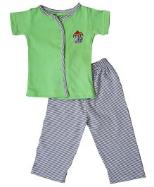 Earth Conscious Short Sleeves Organic Cotton Night Suit - Green Grey