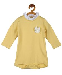 My Lil Berry Cotton Onesie Floral Applique - Yellow