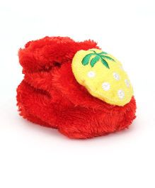 Cute Walk Booties Strawberry Applique - Red