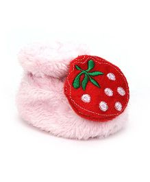Cute Walk by Babyhug Booties Strawberry Applique - Light Pink