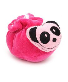 Cute Walk Booties Panda Applique - Pink